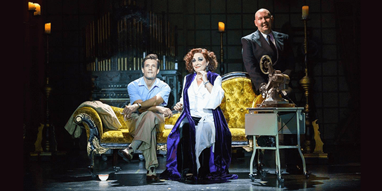 171026 SUNSET BOULEVARD. Danny Mac Joe Gillis Ria Jones Norma Desmond and Adam Pearce Max Von Meyerling. Photo Manuel Harlan